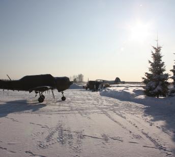 Морозное зимнее утро на аэродроме